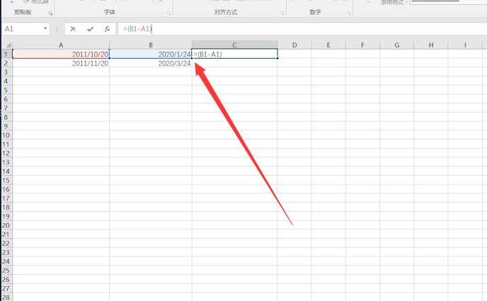 excel表格自动计算天数第2步